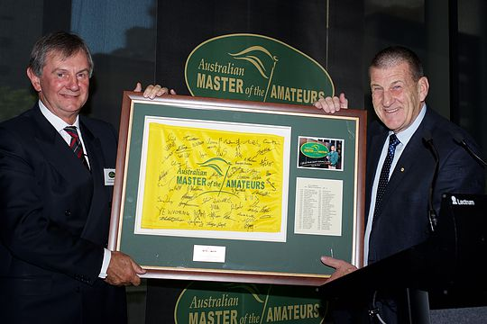 MOTA Honorary Chairman Jeffrey G Kennett, AC, presented a plaque to Royal Melbourne President, Brian McPhail