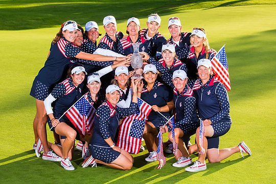 Team USA celebrate their 2015 Solheim Cup win