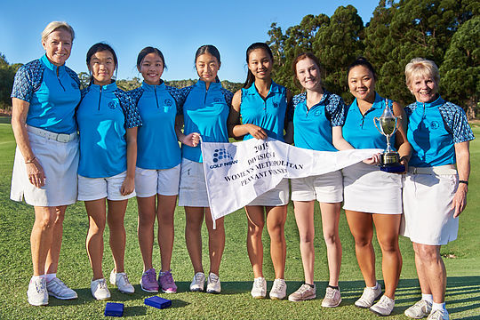 Team Concord celebrate with the Division 1 Women's Sydney Pennants flag