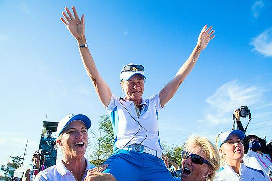 European Team Captain, Catriona Matthew, celebrates after their win