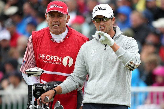 Adam Scott waits with his caddie Steve Williams on the fifth hole during the second round of the Open Championship (Photo by Andrew Redington/Getty Images)