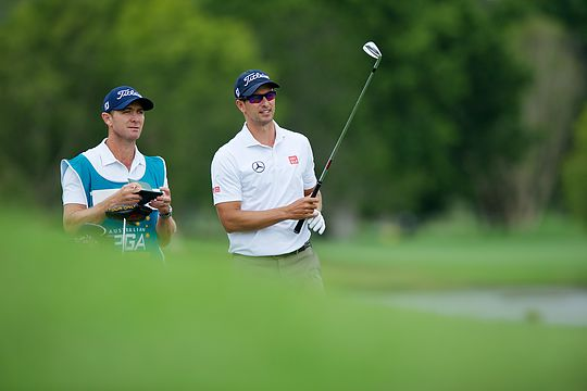 Adam Scott with his new full-time caddy Mike Kerr