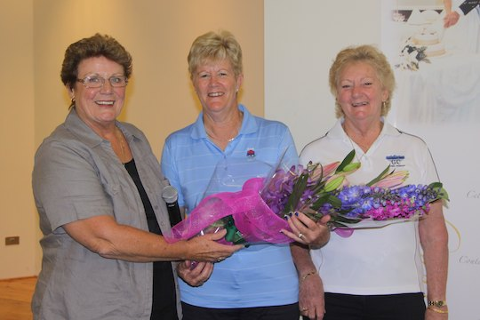 Bankstown president Penny Brewster (L), Jan Heys and club captain Pam Barton are all smiles