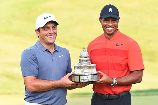 Francesco Molinari and tournament host Tiger Woods