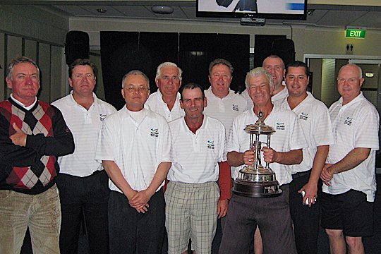 Gibson Trophy: The Coast Golf Club hold the winners trophy