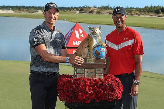 Henrik Stenson with host Tiger Woods