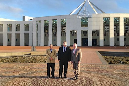 PGA director Peter O'Malley, Golf Australia CEO Stephen Pitt and PGA of Australia CEO Brian Thorburn at Parliament House