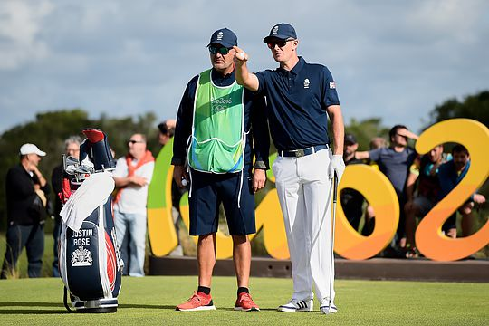Justin Rose with Mark Fulcher at the 2016 Olympics