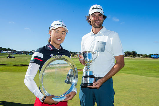 2018 Vic Open winners - Min Jee Lee and Simon Hawkes