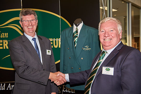 Captain of Royal Melbourne, David Thomas (L) with Peter Mann
