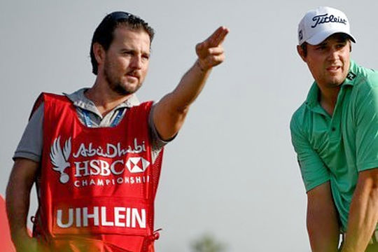 Aussie caddy Ben Hayes with Peter Uihlein