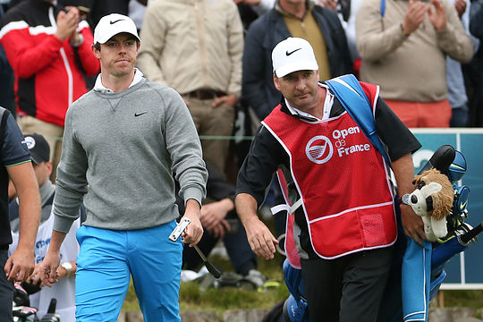 Rory McIlroy with long-time caddy J.P. Fitzgerald