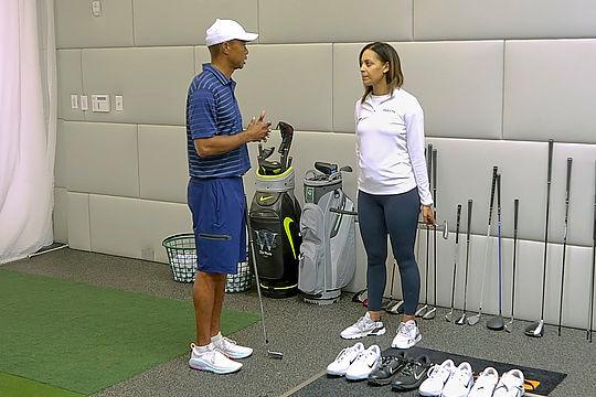 Tiger Woods with GolfTV host Henni Zuel