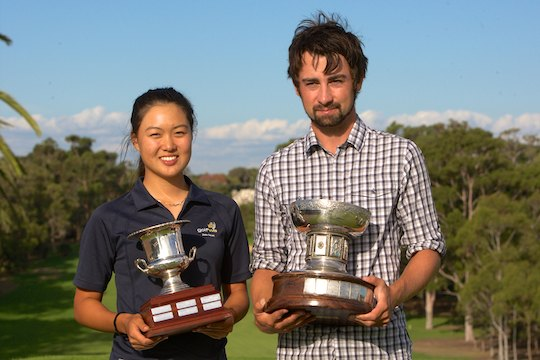 Min Jee Lee and Brady Watt hold the 2013 WA Amateur trophies
