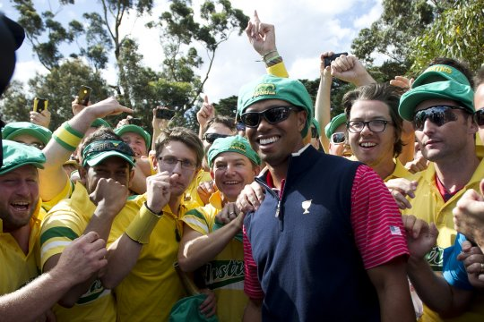 Tiger Woods is all simles with the Fanatics after the USA won the Presidents Cup at Royal Melbourne. (Photo: Anthony Powter)