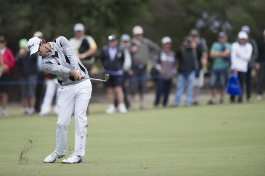 Adam Scott nails his drive into the 6th at Kingston Heath during the second round of the Australian Masters (Photo: Anthony Powter)