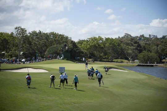 Players walk up the 9th at Coolum during the opening round of the Austraian PGA Championship (Photo: Anthony Powter)