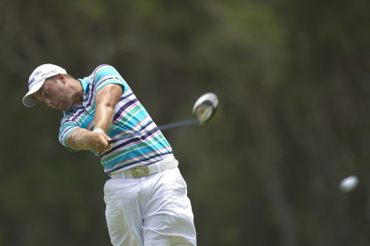 Daniel Nisbet nails his tee shot on the 13th at Belmont during the final round of the Lake Macquarie Amateur (Photo: Anthony Powter)