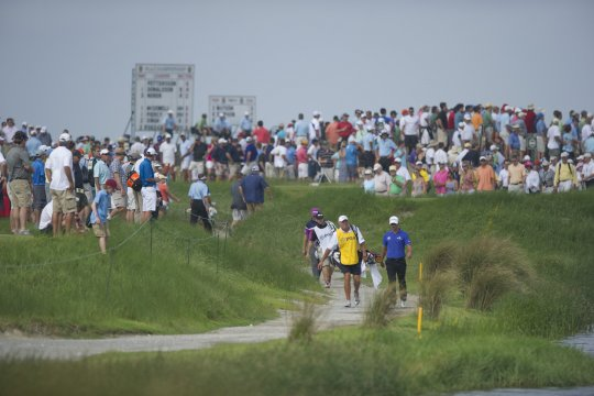 Adam Scott walks down the 17th at The Ocean Course during the second round of the US PGA Championship (Photo: Anthony Powter)