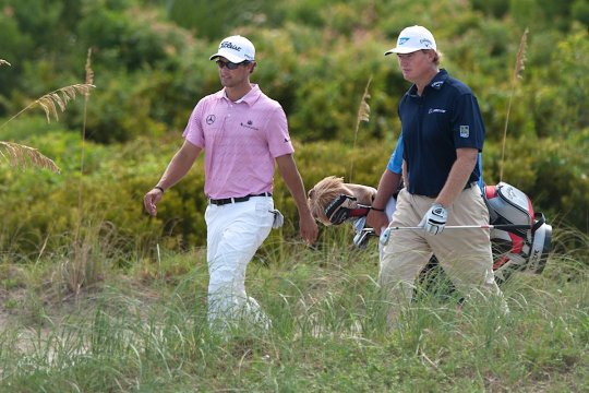 Adam Scott and Ernie Els shared a practice session on Wednesday at the PGA Championship (Photo: Anthony Powter)