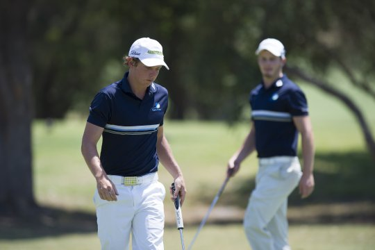 Cameron Smith and Geoff Drakeford battle for the 2013 Australian Amateur title at Commonwealth Golf Club (Photo: Anthony Powter)