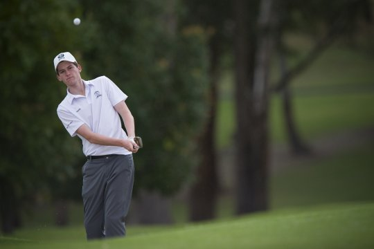 Zac Baker from St Michaels won his match against Avondale's Isaac Noh, 5&3 in the Golf NSW Eric Apperly Shield final at Pennant Hills Golf Club, Sydney (Photo: Anthony Powter)