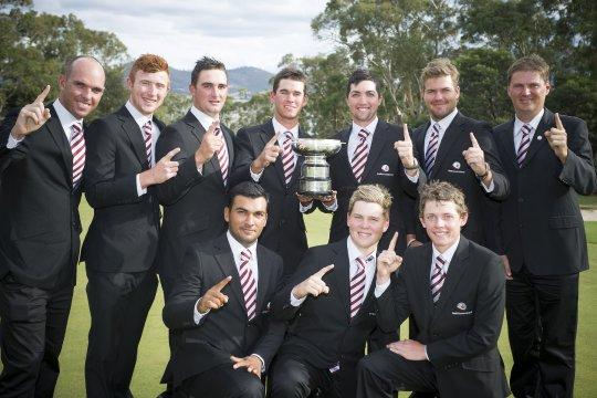 Queensland Men's Interstate Team, winners of the 2013 Australian Teams Championship at Tasmania Golf Club (Photo: Anthony Powter)
