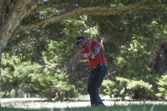 Brett Drewitt chips back from under the trees on the 6th during the final round of the Riversdale Cup in Melbourne (Photo: Anthony Powter)