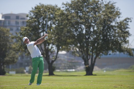 Matt Miller fires his approach into the 17th during the second round of the NSW PGA Championship at Wollongong Golf Club