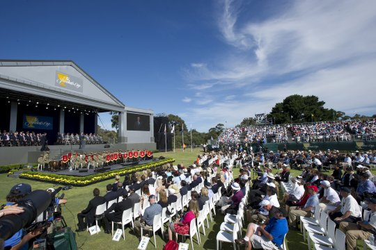The opening ceremony to the 2011 Presidents Cup at Royal Melbourne. (Photo: Anthony Powter)